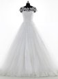 Scoop White Clasp Handle Wedding Gown Lace and Appliques Short Sleeves With Brush Train
