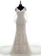 Sumptuous Lace V-neck 3|4 Length Sleeve Court Train Clasp Handle Lace and Appliques Wedding Dress in White