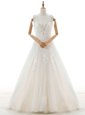 With Train White Wedding Gowns V-neck Sleeveless Court Train Zipper