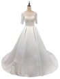 Hot Selling White Satin Zipper Scalloped Half Sleeves With Train Wedding Gown Chapel Train Lace