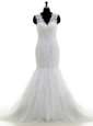 Mermaid White V-neck Clasp Handle Beading and Lace and Appliques Bridal Gown Brush Train Sleeveless