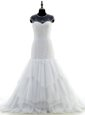 Affordable Scoop White Chiffon and Lace Zipper Wedding Gown Short Sleeves With Brush Train Beading and Lace
