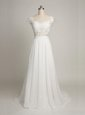 Scoop White Sleeveless Tulle Backless Wedding Gowns for Wedding Party