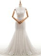New Arrival V-neck Sleeveless Wedding Dresses With Train Court Train Lace White Lace