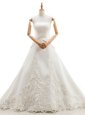 Scoop White Sleeveless Floor Length Lace Lace Up Bridal Gown