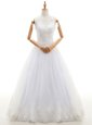 Sexy Halter Top Floor Length White Bridal Gown Organza Sleeveless Lace and Appliques