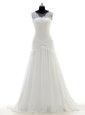 Scoop Sleeveless With Train Lace Side Zipper Wedding Dress with White Brush Train