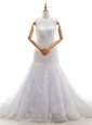Customized Scoop Lace With Train Mermaid Sleeveless White Wedding Dress Court Train Zipper