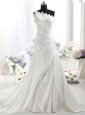 White Column/Sheath Satin One Shoulder Sleeveless Ruffles With Train Zipper Wedding Dress Chapel Train