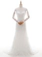 Glorious V-neck Cap Sleeves Lace Wedding Dress Lace and Sashes|ribbons Brush Train Zipper