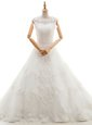 Trendy Scoop Sleeveless Tulle With Brush Train Clasp Handle Bridal Gown in White for with Appliques