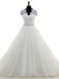 Dynamic With Train Clasp Handle Bridal Gown White and In for Wedding Party with Beading and Lace Brush Train
