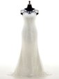 Spectacular White Column/Sheath Scoop Cap Sleeves Lace With Brush Train Zipper Lace Bridal Gown