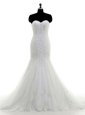 Mermaid Lace With Train White Bridal Gown Sweetheart Sleeveless Brush Train Zipper