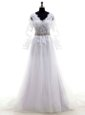 Decent Mermaid V-neck Half Sleeves Tulle Bridal Gown Lace and Appliques Court Train Clasp Handle
