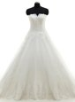 White Sleeveless With Train Lace and Appliques Clasp Handle Wedding Dresses