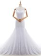 Lace With Train Mermaid Sleeveless White Bridal Gown Brush Train Backless