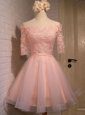Off the Shoulder Peach Short Sleeves Organza Lace Up Evening Dress for Prom