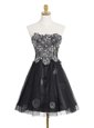 Black Dress for Prom Prom and For with Appliques Sweetheart Sleeveless Zipper