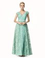 Exquisite Turquoise Lace Zipper V-neck Cap Sleeves Mother Of The Bride Dress Pleated