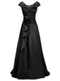 Scoop Black Cap Sleeves Beading and Appliques Floor Length