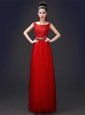 Amazing Red Zipper Scoop Appliques Homecoming Dress Tulle Sleeveless