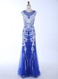 Attractive Mermaid Scoop Royal Blue Backless Prom Evening Gown Beading and Appliques Sleeveless Floor Length