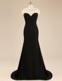 Discount Black Backless Bateau Beading Prom Party Dress Chiffon Sleeveless Brush Train