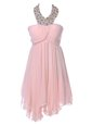 Ideal Baby Pink Homecoming Party Dress Prom and Party and For with Beading Strapless Sleeveless Backless