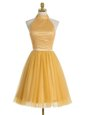 Gold A-line Organza High-neck Sleeveless Beading Mini Length Zipper Dress for Prom