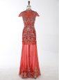 Vintage Mermaid Cap Sleeves Chiffon Floor Length Backless Dress for Prom in Red for with Beading and Appliques