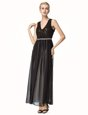 Glamorous Black A-line Chiffon V-neck Sleeveless Beading and Pleated Ankle Length Backless Homecoming Dress