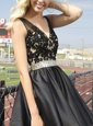 Fine Sleeveless Floor Length Beading and Appliques Zipper Evening Dress with Black