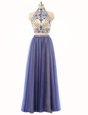 Graceful Tulle High-neck Sleeveless Zipper Beading in Blue