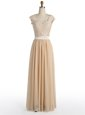 V-neck Cap Sleeves Prom Dress Floor Length Lace Champagne Chiffon