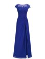 Pretty Scoop Floor Length Royal Blue Prom Dresses Chiffon Cap Sleeves Appliques