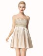 Pleated Mini Length Champagne Homecoming Dress Strapless Sleeveless Side Zipper