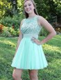 Adorable Apple Green Cocktail Dresses Prom and Party and For with Beading and Bowknot Bateau Sleeveless Backless