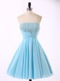 Low Price Sleeveless Mini Length Beading and Sequins and Ruching Zipper Evening Dress with Blue