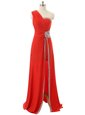 Vintage Red Evening Gowns Prom and Party and For with Beading and Ruching One Shoulder Sleeveless Zipper