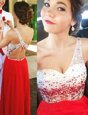 Custom Made A-line Red One Shoulder Chiffon Sleeveless Floor Length Backless