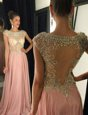 Fitting Bateau Cap Sleeves Dress for Prom Brush Train Beading Pink Chiffon