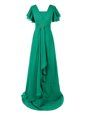 Short Sleeves Chiffon With Train Sweep Train Zipper Dress for Prom in Green for with Beading and Ruching