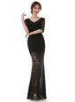 Black Scoop Zipper Lace Prom Dresses Half Sleeves