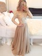 Glorious Scoop Long Sleeves Beading and Lace Zipper Mother Of The Bride Dress