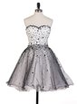 Grey A-line Sweetheart Sleeveless Organza Knee Length Lace Up Beading Prom Evening Gown