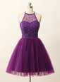 Top Selling Sequins A-line Cocktail Dresses Purple Halter Top Tulle Sleeveless Mini Length Zipper