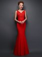 Mermaid Sleeveless Lace Floor Length Lace Up Prom Evening Gown in Red for with Beading and Appliques