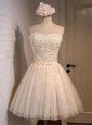 Mini Length Champagne Evening Dress Sweetheart Sleeveless Lace Up