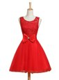 Dazzling Red Scoop Lace Up Lace and Bowknot Cocktail Dresses Sleeveless